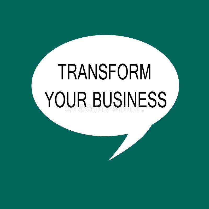 概念性手文字陈列变换您的事务 企业照片陈列修改在创新和能承受的gro的能量 皇族释放例证