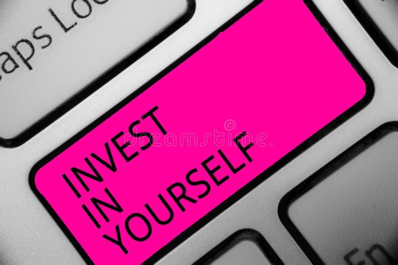 概念性手文字陈列在你自己投资 企业照片陈列改进您的技能路线做大师学者的作为 库存例证