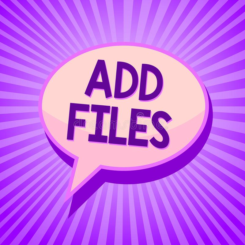 概念性手文字陈列增加文件 企业投入更多信息的照片文本对某一人、事或者文件Speec 向量例证