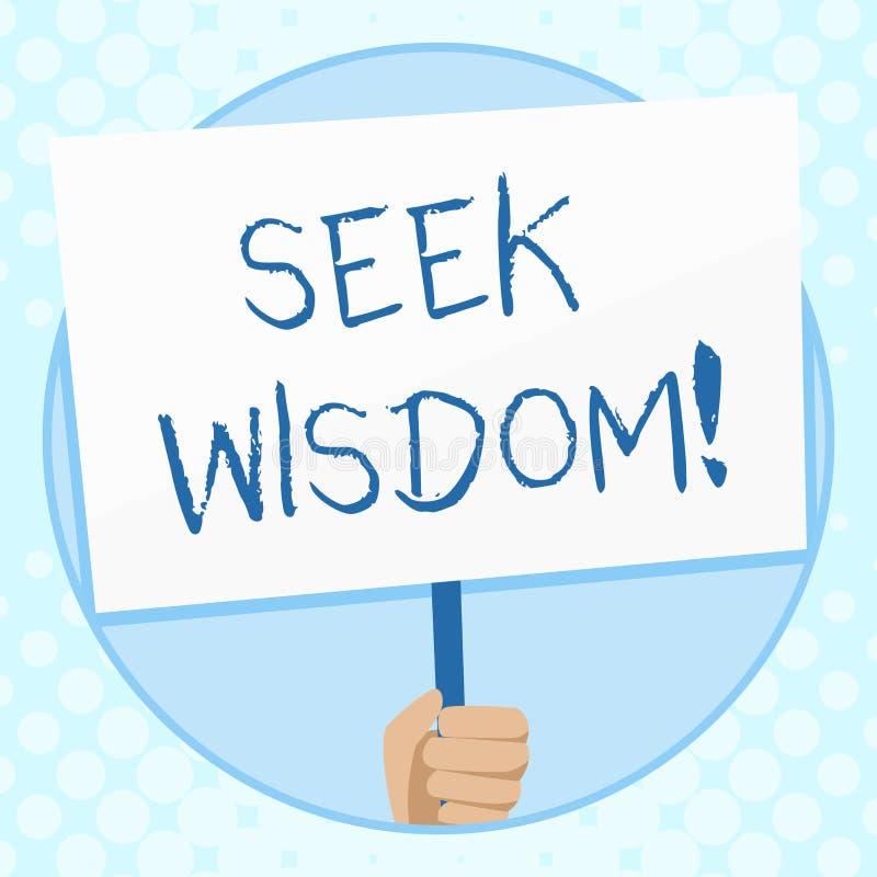 概念性手文字陈列寻求智慧 使用知识经验,企业照片文本能力认为行动 库存例证