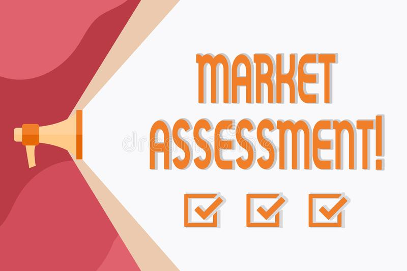 概念性手文字陈列市场估价 市场的企业照片陈列的评估产品的或 皇族释放例证