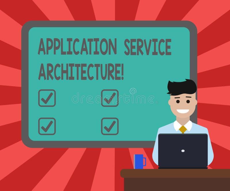 概念性手文字陈列应用服务建筑学 企业照片连接应用程序和数据解答的文本设计  库存例证
