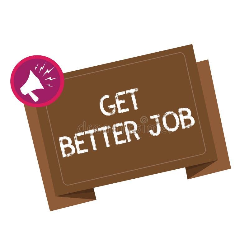 概念性手文字陈列得到更好的工作 陈列企业的照片寻找高收入职业重音任意运作 向量例证