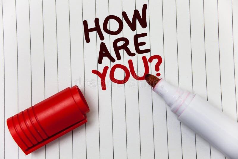 概念性手文字陈列怎么样您问题 陈列您的健康状态的企业照片询问您的生活和愈合 免版税库存照片
