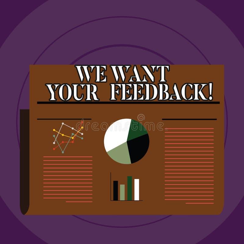 概念性手文字陈列我们想要您的反馈 企业照片指定的文本批评某人说可以做为 向量例证