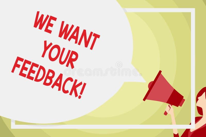 概念性手文字陈列我们想要您的反馈 企业照片指定的文本批评某人说可以做为 皇族释放例证