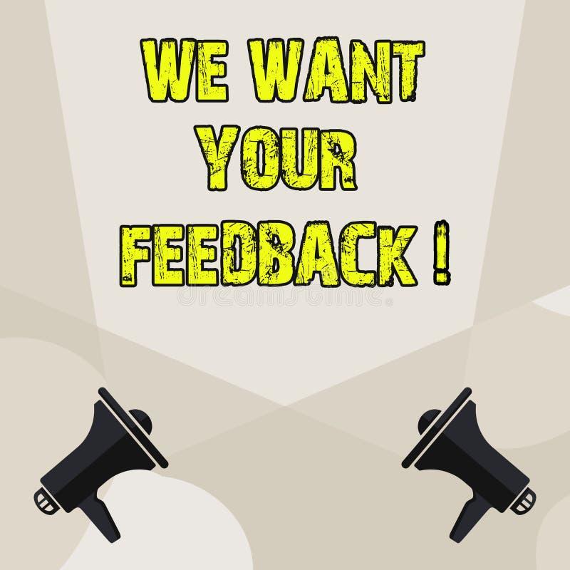 概念性手文字陈列我们想要您的反馈 指定的企业照片陈列的批评某人说可以做 向量例证