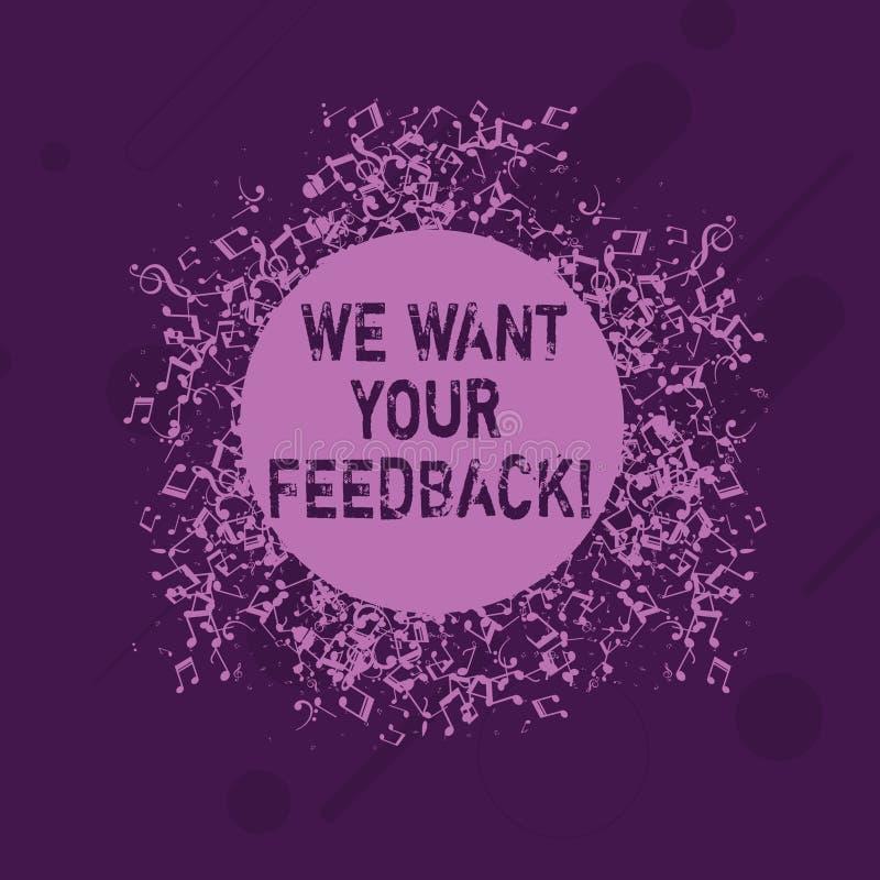 概念性手文字陈列我们想要您的反馈 指定的企业照片陈列的批评某人说可以做 库存例证