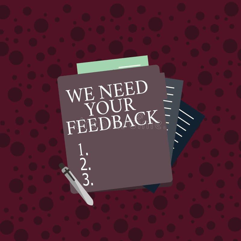 概念性手文字陈列我们需要您的反馈 企业照片文本批评指定说可以完成 向量例证