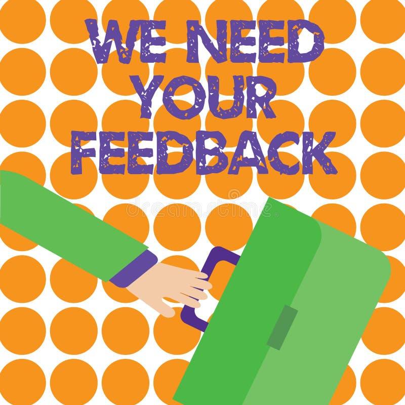概念性手文字陈列我们需要您的反馈 企业照片陈列的批评指定说可以完成 库存例证