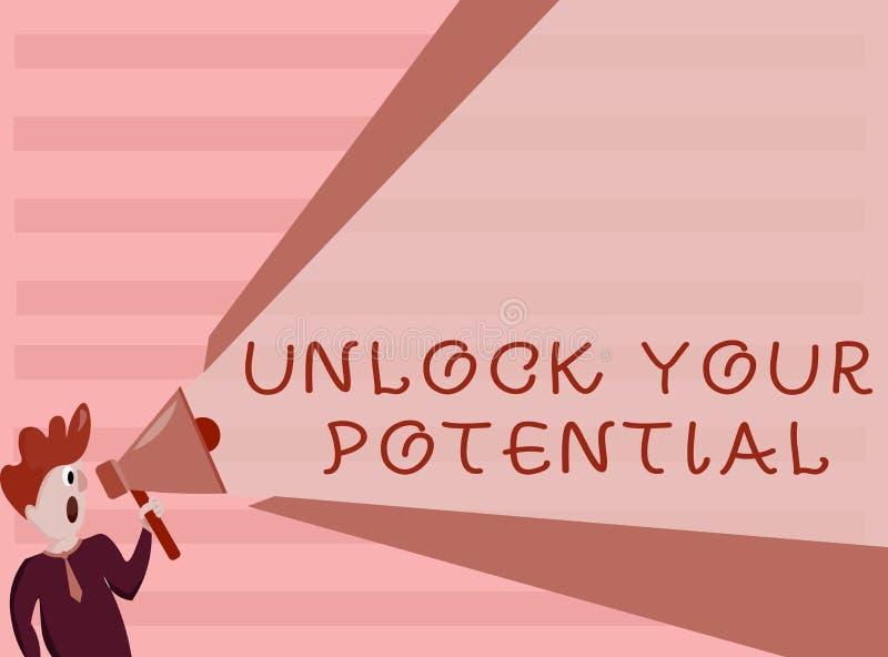概念性手文字陈列打开您潜在的问题 企业照片陈列最大化您的能力用途上帝特定礼物 库存例证