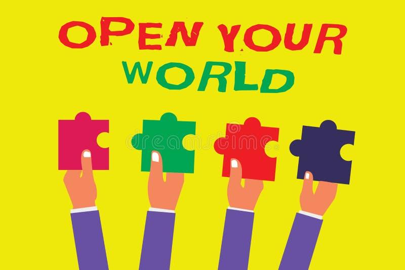 概念性手文字陈列打开您的世界 企业照片陈列扩展您的头脑和思路从所有否定性 皇族释放例证