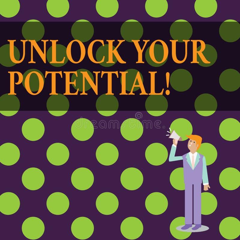 概念性手文字陈列打开您的潜力 企业照片文本发行可能性教育和训练 皇族释放例证