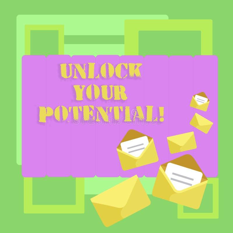 概念性手文字陈列打开您的潜力 企业照片文本显露天分培养能力显示 库存例证
