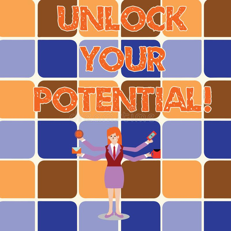概念性手文字陈列打开您的潜力 企业照片陈列显露天分培养能力显示 库存例证