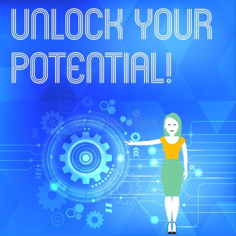 概念性手文字陈列打开您的潜力 企业照片陈列的发行可能性教育和 向量例证
