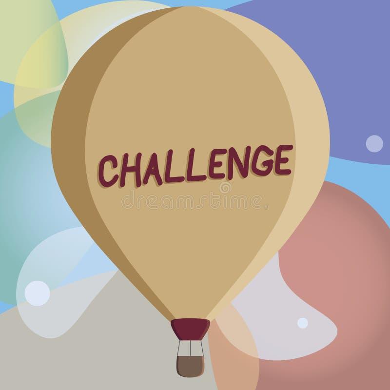 概念性手文字陈列挑战 企业照片对参加的某人的文本电话竞争情况 库存例证