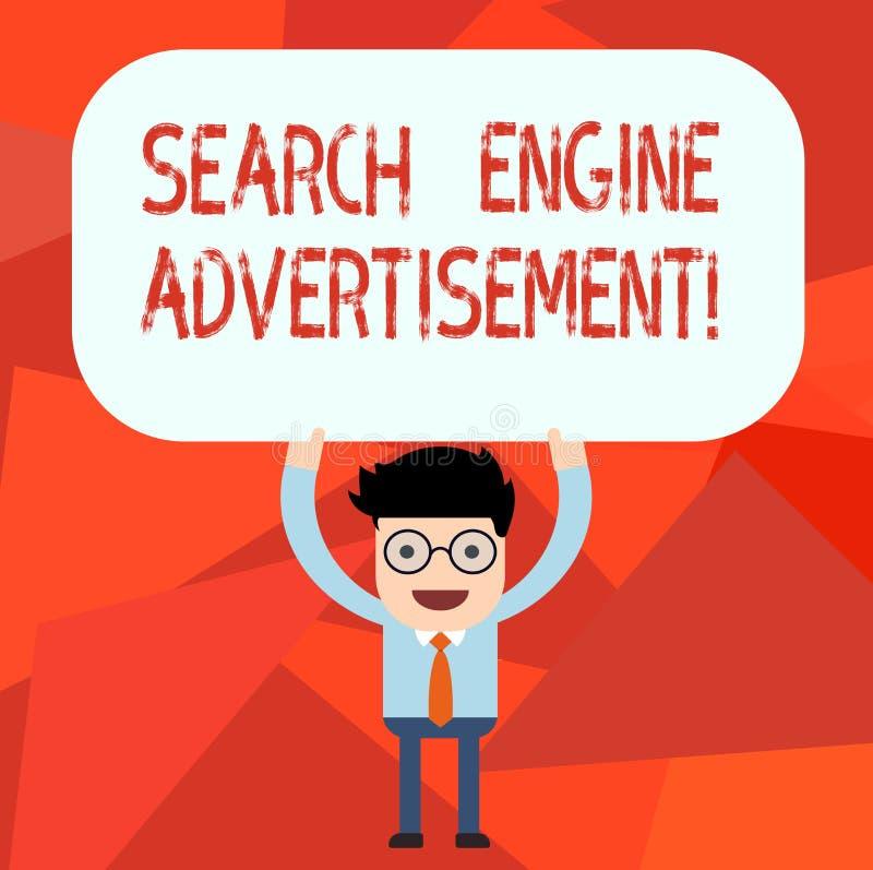 概念性手文字陈列搜索引擎广告 企业安置网上广告的照片文本在网页人 向量例证