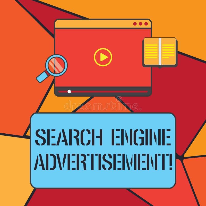 概念性手文字陈列搜索引擎广告 陈列企业的照片安置网上广告  向量例证