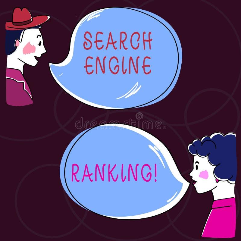 概念性手文字陈列搜索引擎等级 企业照片站点出现于查寻的文本等级 向量例证