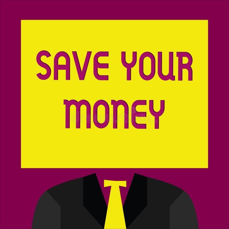 概念性手文字陈列救球您的金钱 企业照片文本在银行保留您的储款或保护它的股票不浪费 皇族释放例证
