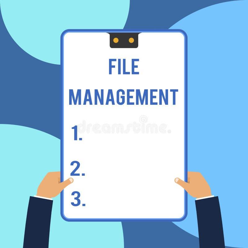 概念性手文字陈列文件管理 企业照片文本提供用户界面的计算机程序 库存例证