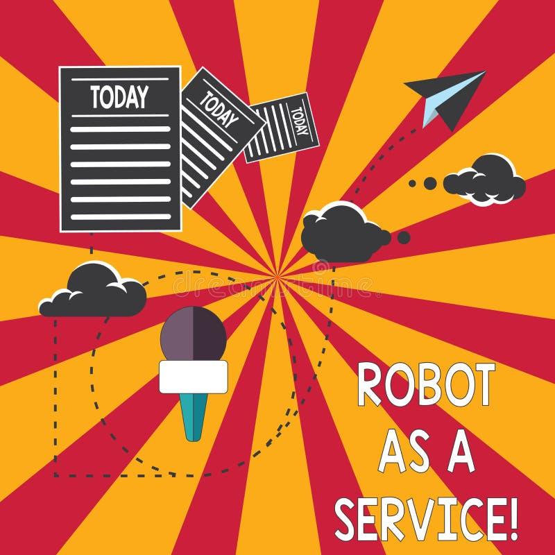 概念性手文字陈列机器人作为服务 陈列人工智能数字协助的企业照片 皇族释放例证