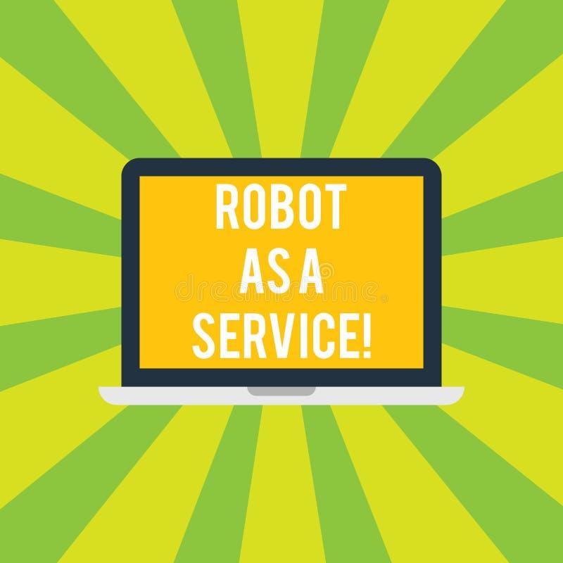 概念性手文字陈列机器人作为服务 陈列人工智能数字协助的企业照片 库存例证