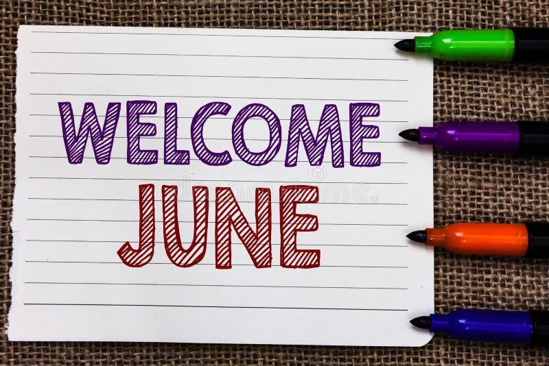 概念性手文字陈列欢迎6月 企业照片陈列的日历第六个月二季度三十几天问候 皇族释放例证