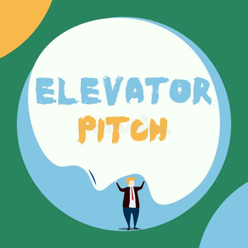 概念性手文字陈列电梯沥青 企业照片陈列令人信服的销售摊点简要的讲话 库存例证