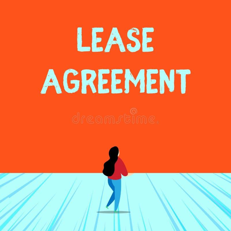 概念性手文字陈列租借协定 企业照片以方式的文本合同对一个党同意租 皇族释放例证