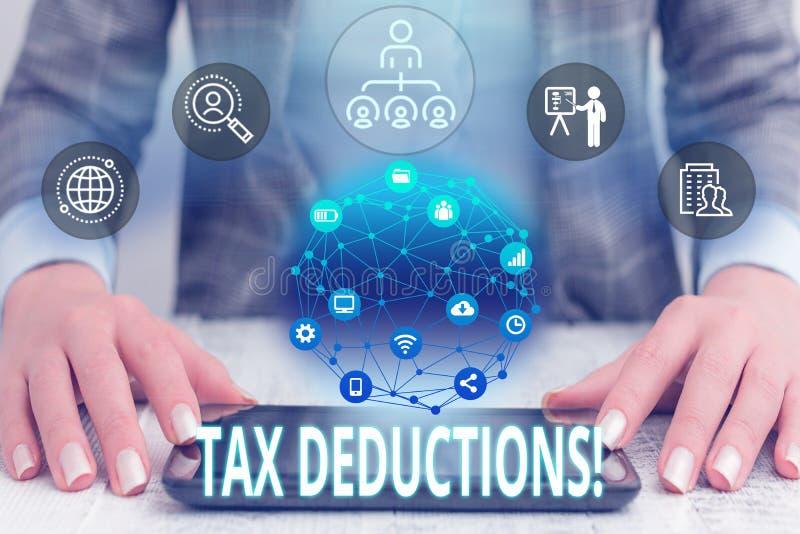 概念性手文字陈列税收减免 企业照片文本能被收税的减少收入 库存图片