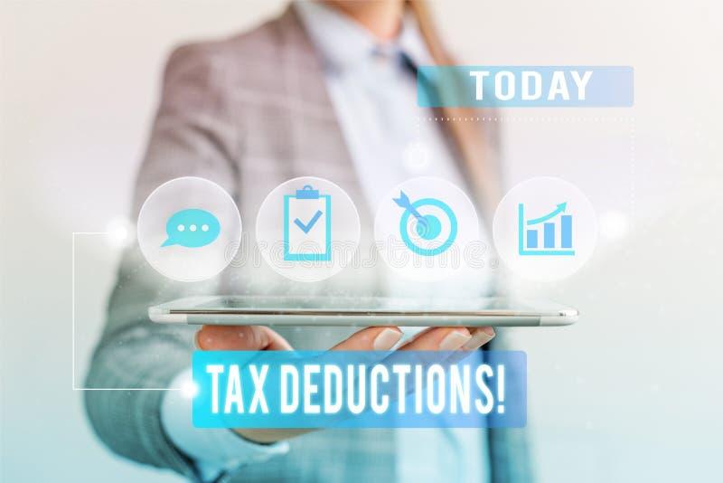概念性手文字陈列税收减免 企业照片文本能被收税的减少收入 免版税库存图片