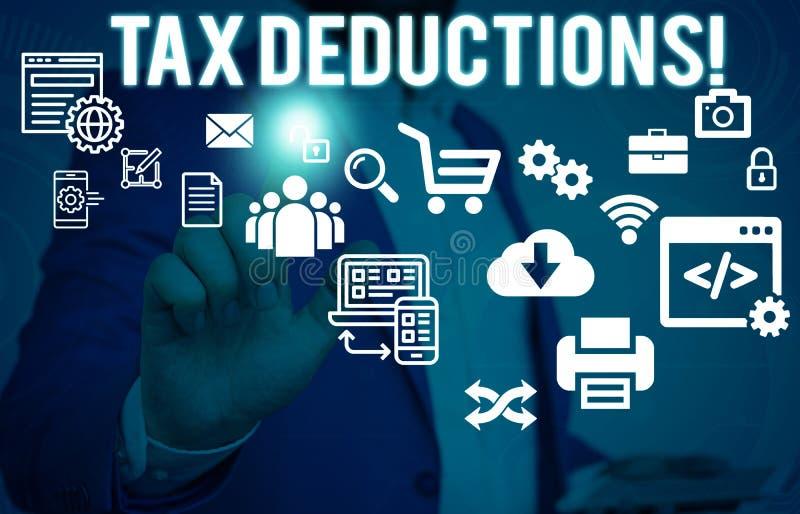 概念性手文字陈列税收减免 能被收税的企业照片陈列的减少收入 库存照片