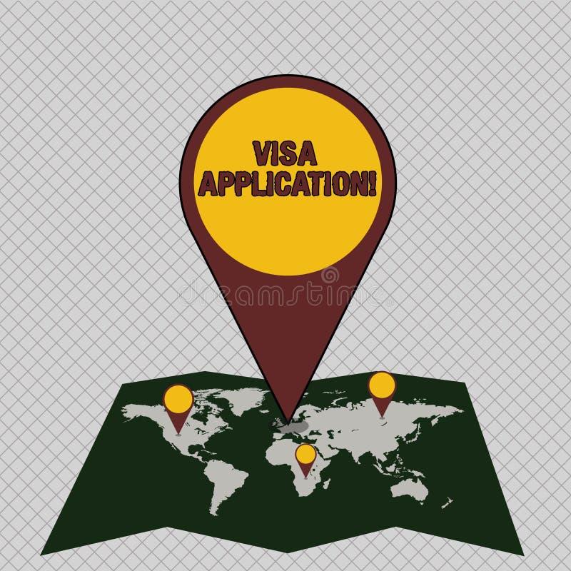 概念性手文字陈列签证申请 陈列有条件授权的企业照片授予按国家 向量例证