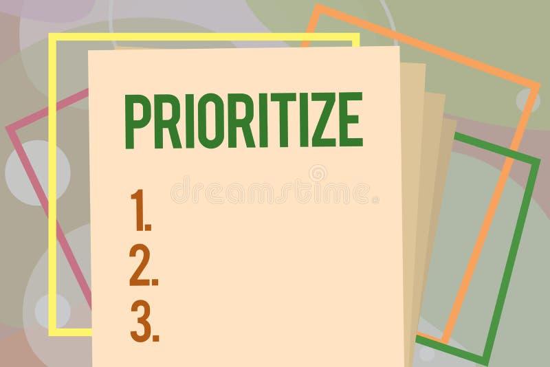 概念性手文字陈列给予优先 企业照片文本组织指定或对待某事作为更是 库存例证