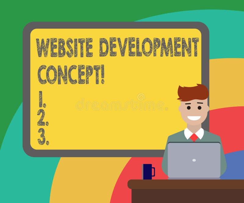 概念性手文字陈列网站发展概念 陈列企业的照片开发的一个网站 库存例证