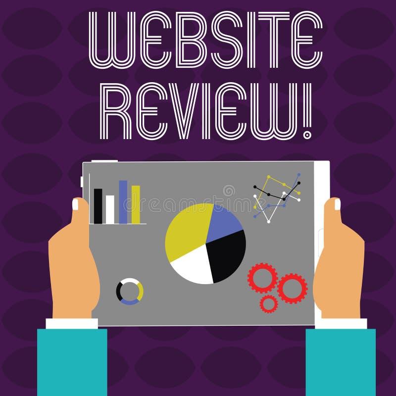 概念性手文字陈列网站回顾 企业照片文本对企业的用户额定值和评估 向量例证