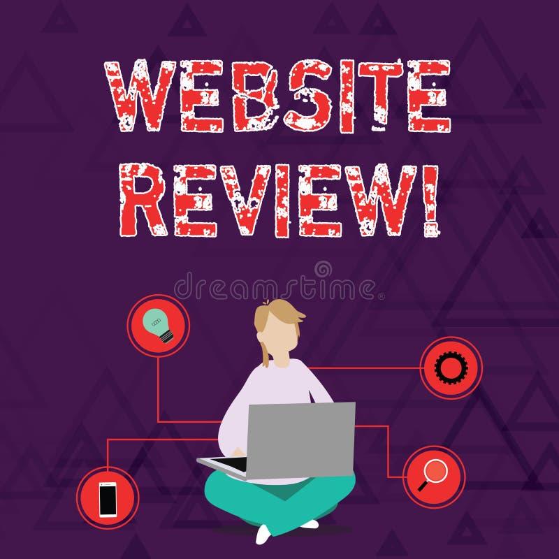 概念性手文字陈列网站回顾 陈列用户额定值和评估的企业照片 向量例证