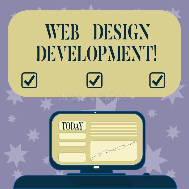 概念性手文字陈列网络设计发展 主持的企业照片文本开发的网站通过内部网 向量例证