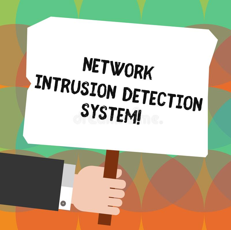 概念性手文字陈列网络闯入检测系统 企业照片陈列的安全安全多媒体 向量例证