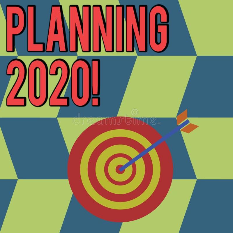 概念性手文字陈列计划2020年 明年做某事的计划的企业照片陈列的过程 库存例证