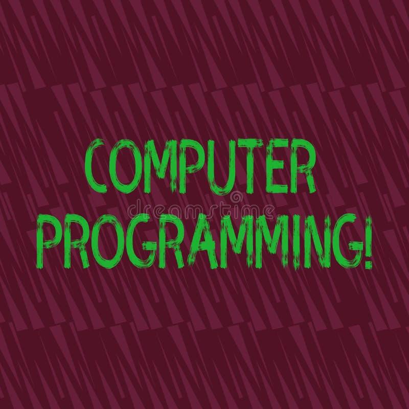 概念性手文字陈列计算机编程 指示一台计算机关于怎样的企业照片陈列的过程 向量例证