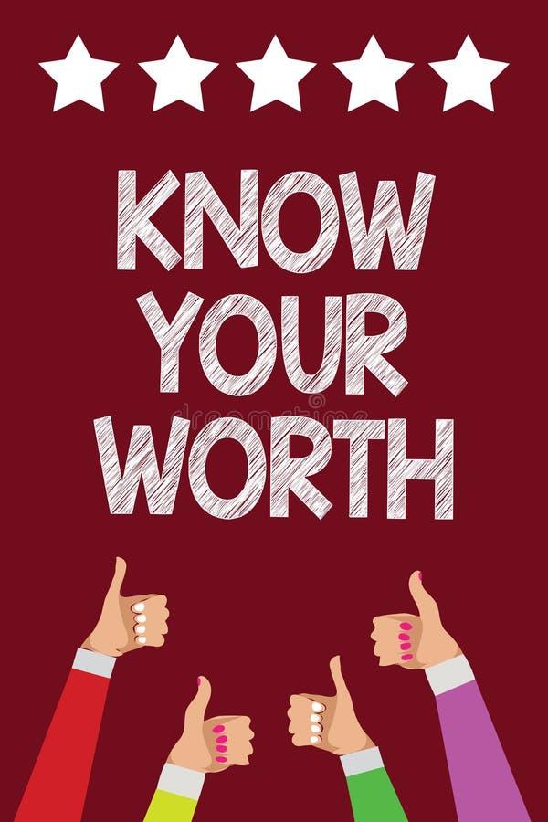 概念性手文字陈列认识您的价值 企业照片文本知道个人价值需要的收入薪金有益于我 皇族释放例证