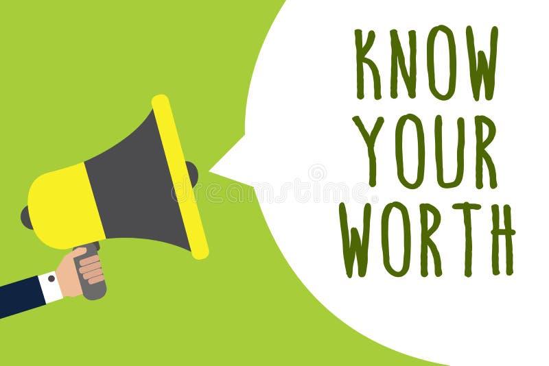 概念性手文字陈列认识您的价值 企业照片陈列知道个人价值需要的收入薪金benef 库存例证