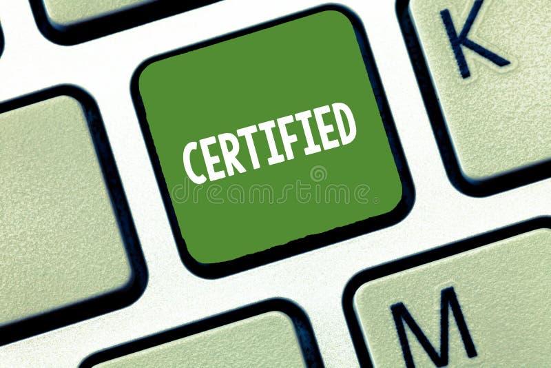 概念性手文字陈列证明了 企业照片文本正式地认出作为某些资格或 免版税库存照片