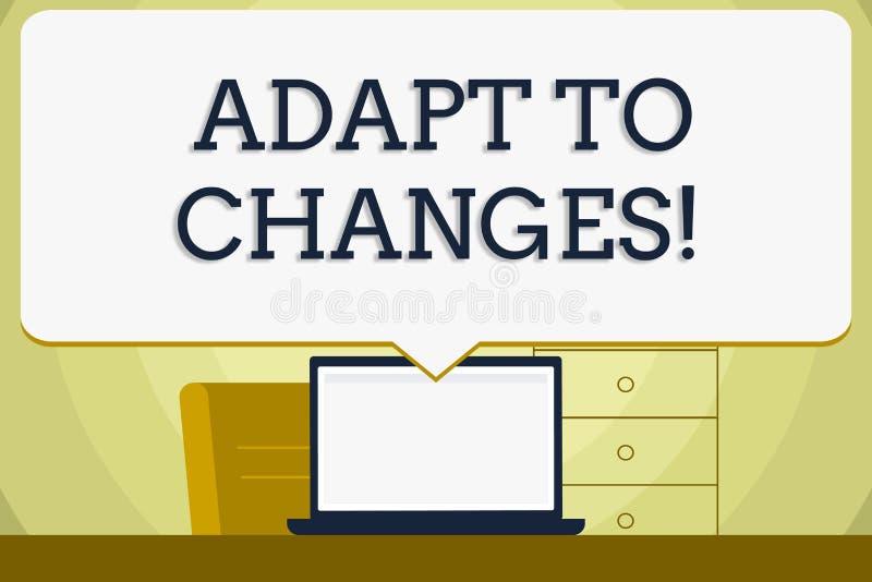 概念性手文字陈列适应变动 陈列创新变动适应与的企业照片 库存例证