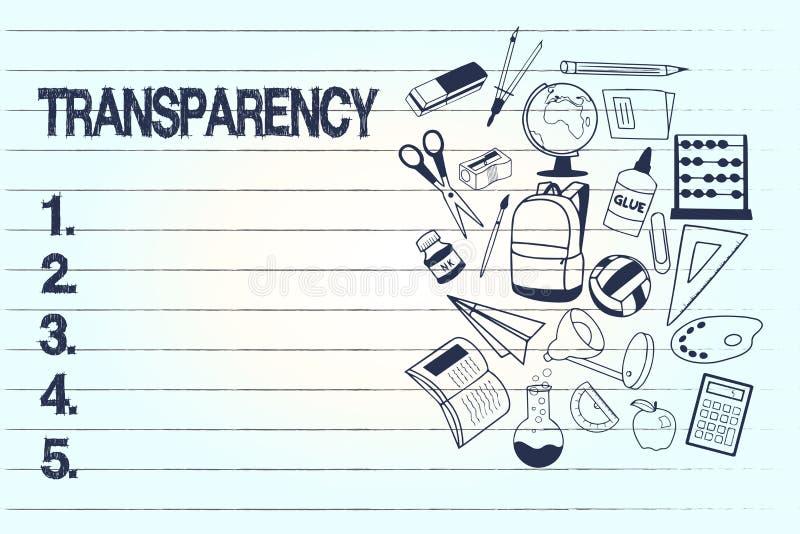 概念性手文字陈列透明度 企业照片是文本的情况透明清楚明显显然的 向量例证