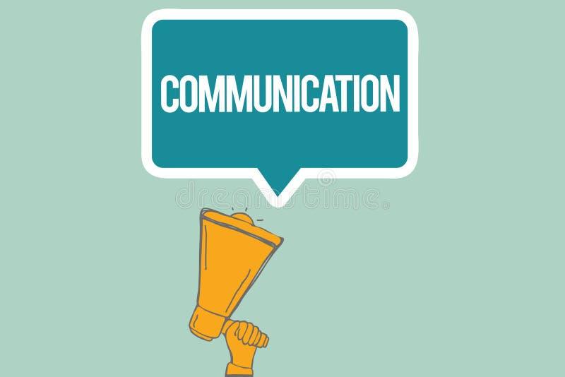 概念性手文字陈列通信 企业给予或交换信息的照片文本通过讲话 皇族释放例证