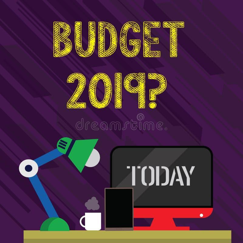 概念性手文字陈列预算2019问题 企业照片支出和收入的文本估计下的 向量例证